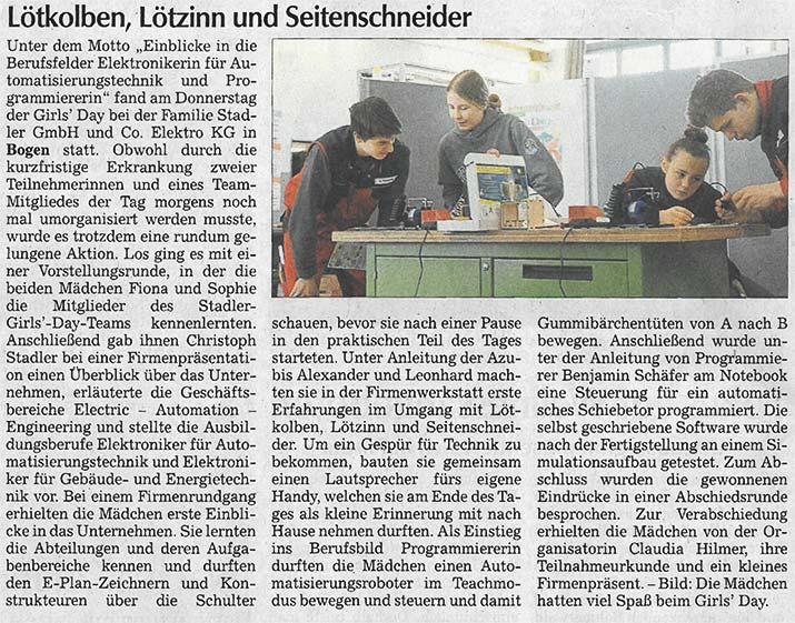Presseartikel Straubinger Tagblatt 190330